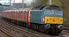 47853 Rail Express, 1M44, Hest Bank, Mon 28 April 2008 - 1801.  Riviera's XP64 class 47 makes a rare appearance on FGBRf's 1534 Shieldmuir - Warrington mail.