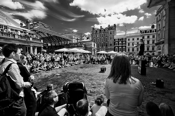People watching street entertainer, Covent Garden, London