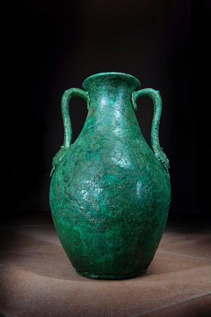 A bronze vessel discovered in a tomb at the Vagnari cemetery.