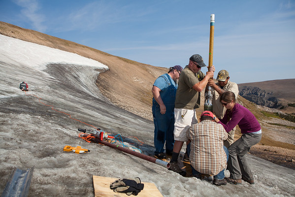 Extracting an ice core from a high elevation icepatch in Wyoming