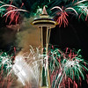 New Year fireworks over the Seattle Space Needle