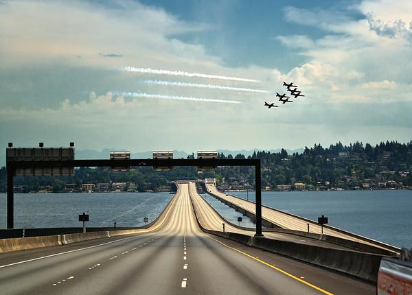 Patriots Jet Team flying over I-90 Bridge