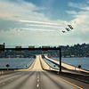 Patriots Jet Team flying over I-90 Bridge