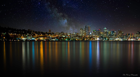 Seattle skyline with Milky Way