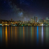 Seattle skyline with Milky Way