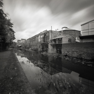 Disused industrial buildings along canal, Stourbridge, West Midlands