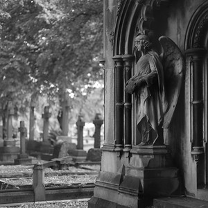 Statue of angel, Brompton Cemetery, London
