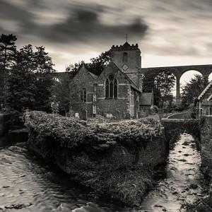 St Thomas à Becket Church with Pensford Viaduct, Pensford, Somerset, England
