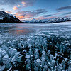 Ice Bubbles at Abraham Lake in Canadian Rockies