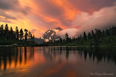 Sunset at Picture Lake, Mt. Baker