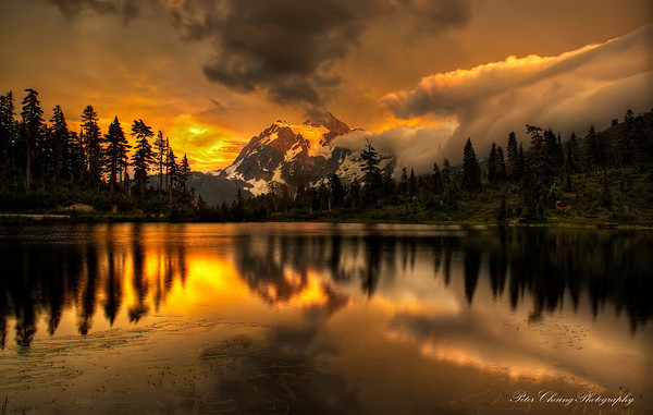 Golden Sunset at Picture Lake, Mt. Baker