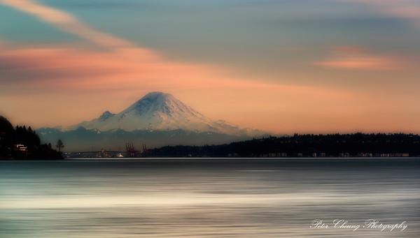 Mt. Rainier sunset. From Dicovery Park.