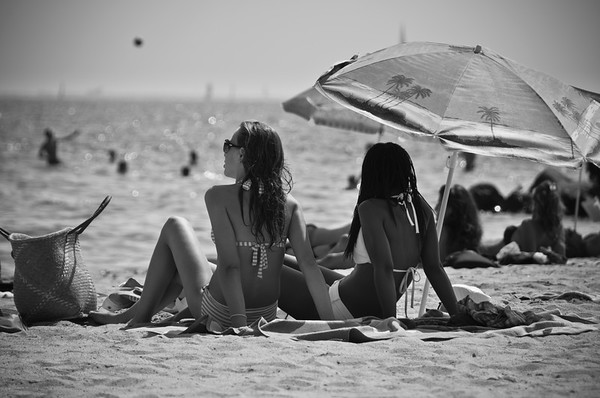 People on the beach, Meze, Herault, Languedoc Roussillon, France