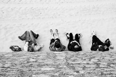 4 women on the beach