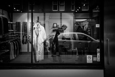Men's clothes shop window, London