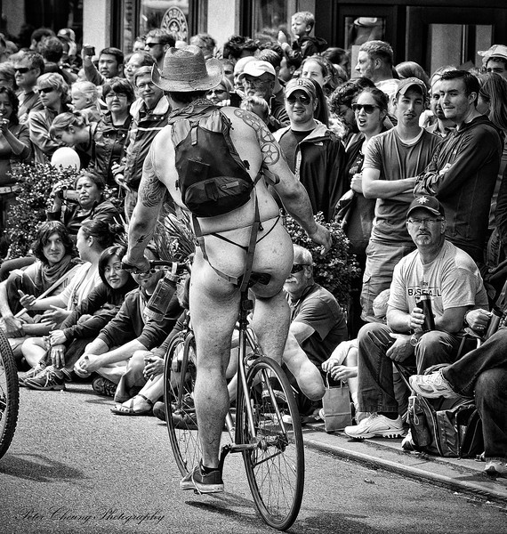 Naked cyclist in Fremont, Seattle