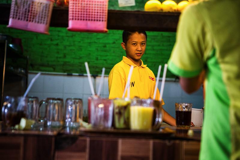 Roadsite restaurant in Medan, Sumatra. 2017.