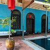 A courtyard in the Cheong Fatt Tze Blue Mansion hotel in UNESCO World Heritage City George Town.. The Blue Mansion was originally home of 19th century architect Cheong Fatt Tze and is only one of two mansions in this size and style to exist outside of China. It was only recently turned into a luxury boutique hotel in 1995.