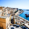 Looking over the historic district of Valletta towards the port and Mediterranean, Malta
