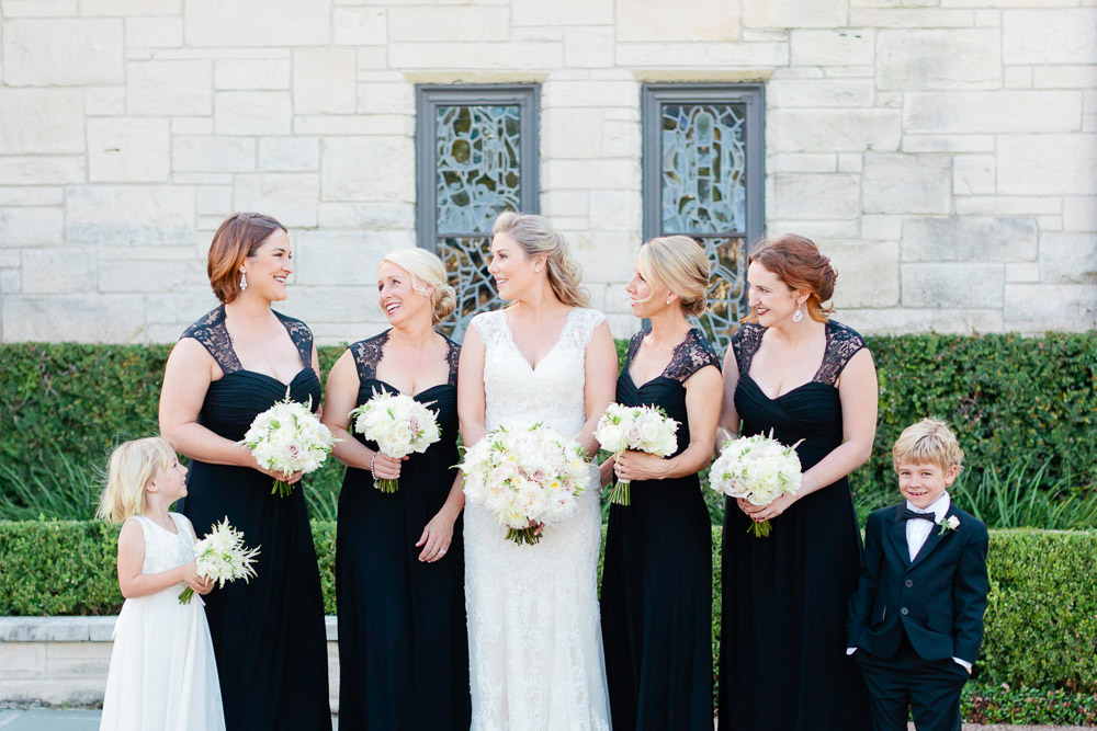 Bride and bridesmaid at St John the Divine Church in Houston, TX