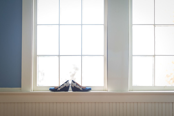 Bride shoes by the window