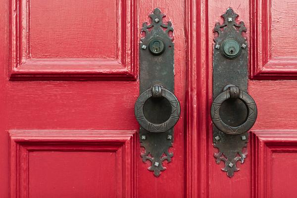 Detail shot of red door