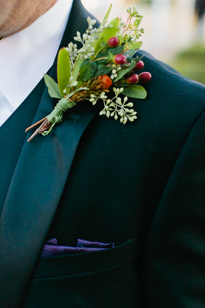 Groom's corsage during bridal photo shoot in Houston, TX