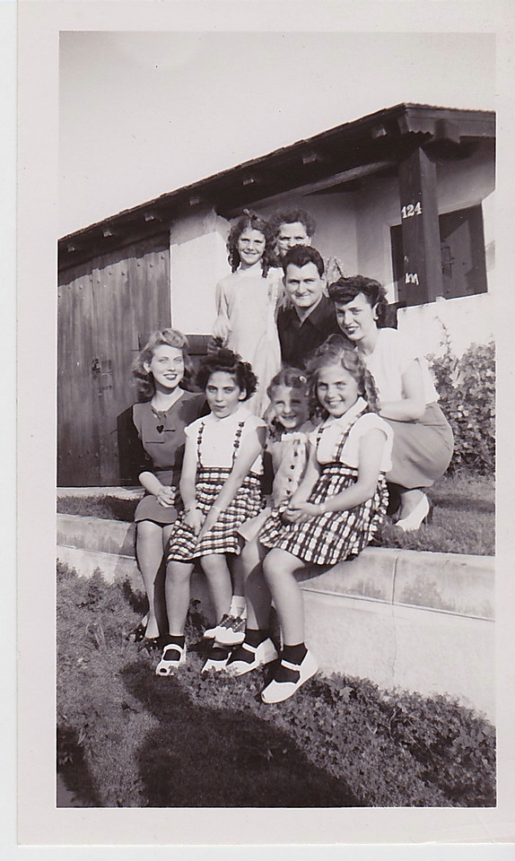 Top Row: Paula Bladdo, Tillie, Toby Radice, Frances Bottom Row: Jennie, Gloria, Norma Bladdo, Jerry Taken in front of home in Playa Del Rey, family friends from San Fele