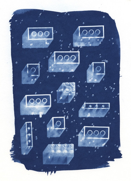 Legos, Cyanotype Photogram. 2013.