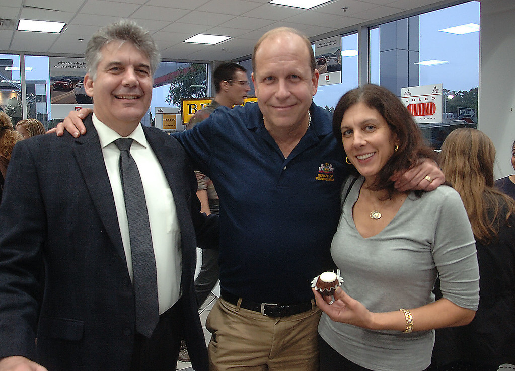 . Mike Teti of Wayne with Pennsylvania State Senator Daylin Leach and his wife Jennifer at  Ardmore Initative\'s  \'A Taste of Ardmore\' last week.