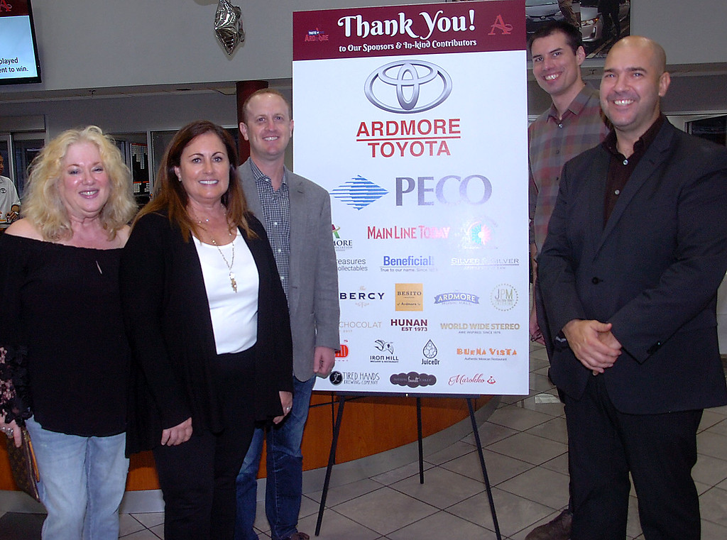 . Enjoying a successful \'Taste of Ardmore\' are Ardmore Initiative board member Jamie Singer, Executive Director, Nancy Scarlato, host Ryan Pesin, Vice-President of Ardmore Toyota, Ardmore Initiative, Main Street Manager Philip Green and chair Joe Petrucci.