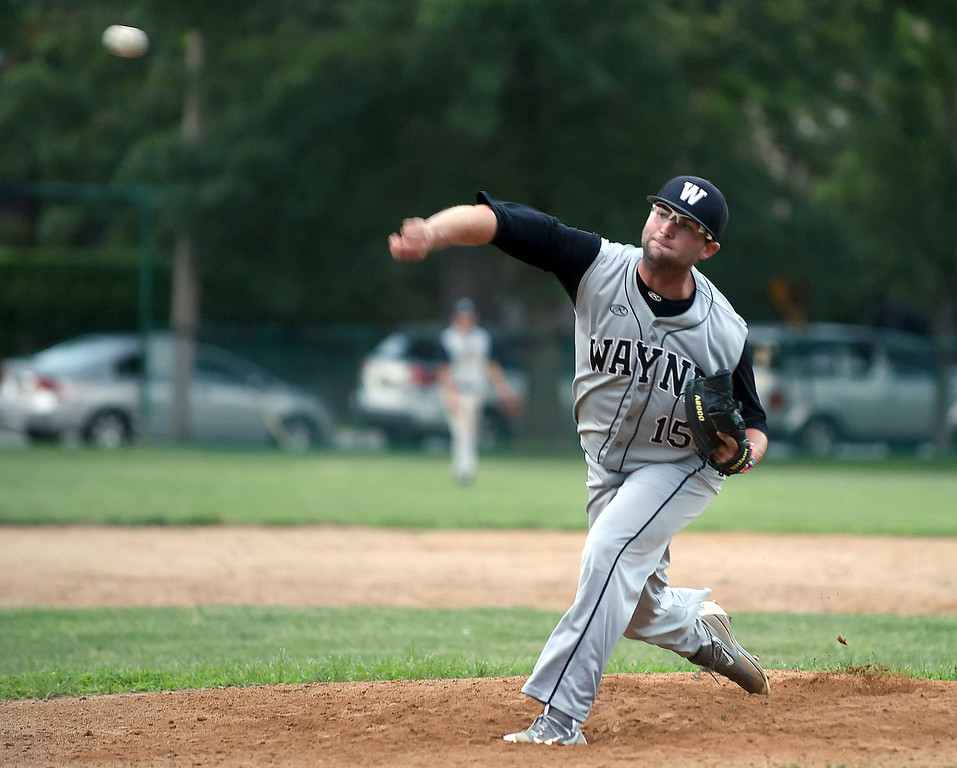 . PETE BANNAN-DIGITAL FIRST MEDIA   Reilly Degen got the save as Wayne defeated Narberth 6-4 at Narberth field Thursday evening in Delco League playoffs.