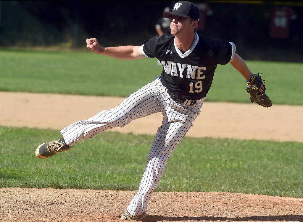 . PETE BANNAN-DIGITAL FIRST MEDIA       Wayne  pitcher  Matt Eiel pitches in over Narberth 8-6 in game three of the Delco League playoff championship series at Radnor High School Sunday.