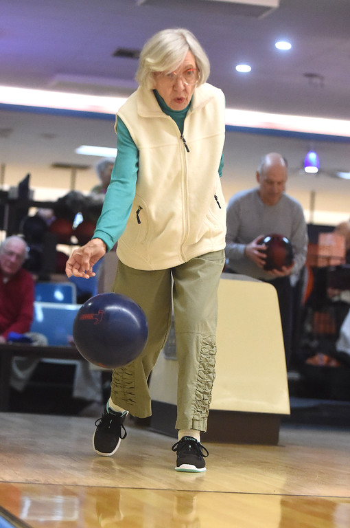 """. PETE  BANNAN-DIGITAL FIRST MEDIA      Maggi Richwine,89,  of Wayne  drops \'the hammer\' , her bowling ball at Devon Lanes she\'s been a member of the Early Bird League since 2000. She said her scores have been down recently, \"""" though just last week I bowled a 158,\"""" she said."""