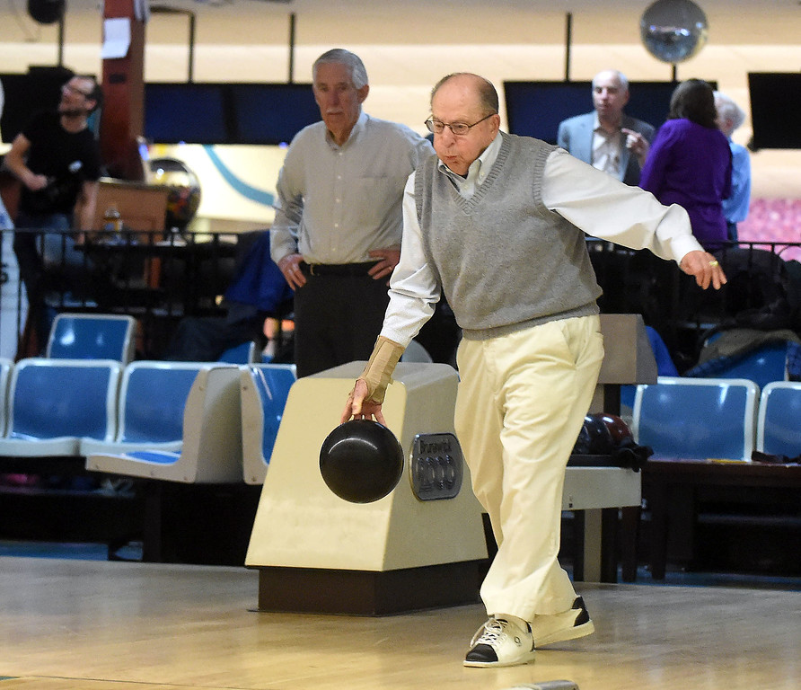 . PETE  BANNAN-DIGITAL FIRST MEDIA      Devon Lanes honored members of the Early Bird League, named for its 9 a.m. start time. Retired Army Colonel, Ed Drinkwater, 94, of West Chester said it helps him stay active.