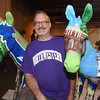 "PETE BANNAN-DIGITAL FIRST MEDIA    The Philadelphia 2016 Host Committee for the Democratic National Convention unveiled 57 fiberglass ""Donkeys Around Town.""  Each of the donkeys represents a Democratic delegation that will be in town for the Convention and, upon completion, will be placed around Philadelphia to celebrate the 2016 Democratic National Convention.  Jonathan Mandell of Bala Cynwyd with the two donkeys he painted for Delaware and Connecticut."