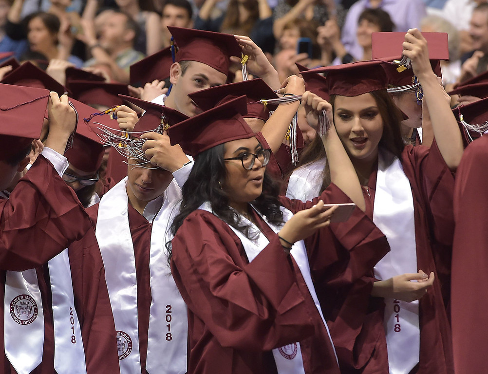 . PETE  BANNAN-DIGITAL FIRST MEDIA           Lower Merion seniors move their tassels, signifying  their graduation Wednesday evening at Hagan Arena St. Joseph\'s University.
