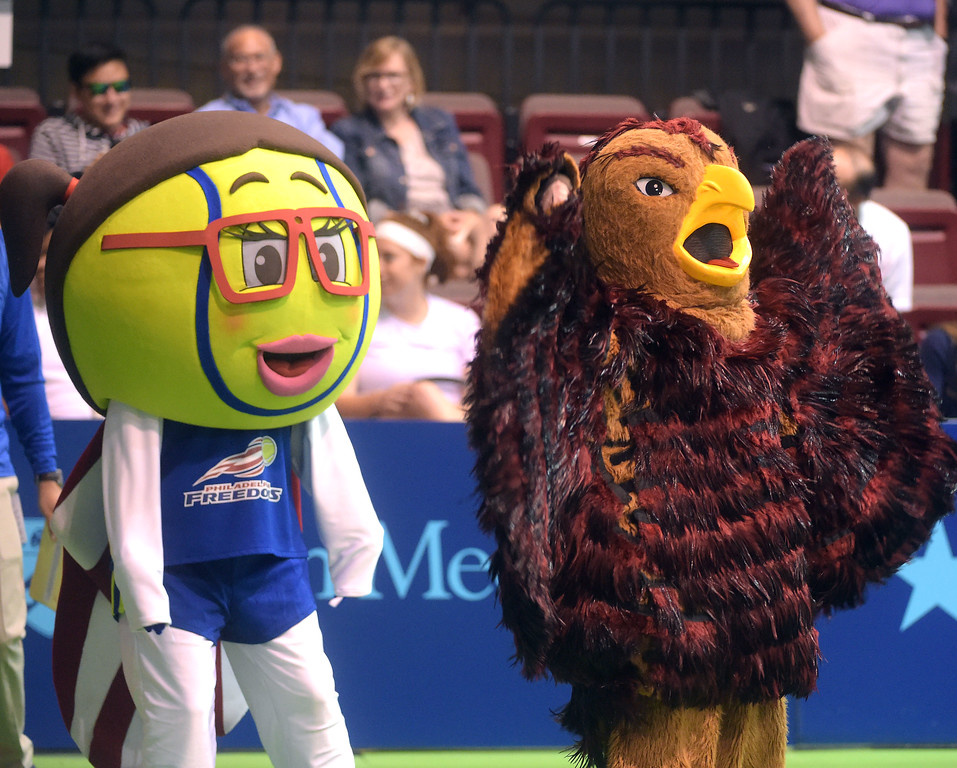 . PETE BANNAN  DIGITAL FIRST MEDIA  Philadelphia Freedoms mascot Nettie King was joined by the St. Joe\'s Hawk  as the Freedom\'s opened their season at Hagan Arena against the New York Empire. Monday evening.