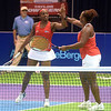 PETE BANNAN  DIGITAL FIRST MEDIA  Philadelphia Freedoms Sloane Stephens  and Taylor Townsend high-five after winning their doubles match at St. Joseph's University Hagan Arena against the New York Empire. Monday evening.