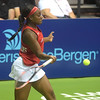 PETE BANNAN  DIGITAL FIRST MEDIA  Philadelphia Freedoms Sloane Stephens returns a shot during her doubles match with Taylor Townsend at St. Joseph's University Hagan Arena against the New York Empire. Monday evening.