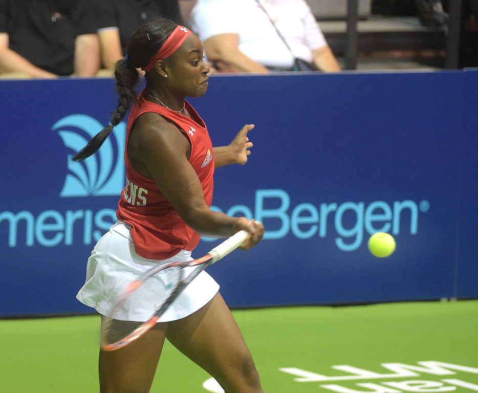 . PETE BANNAN  DIGITAL FIRST MEDIA  Philadelphia Freedoms Sloane Stephens returns a shot during her doubles match with Taylor Townsend at St. Joseph\'s University Hagan Arena against the New York Empire. Monday evening.