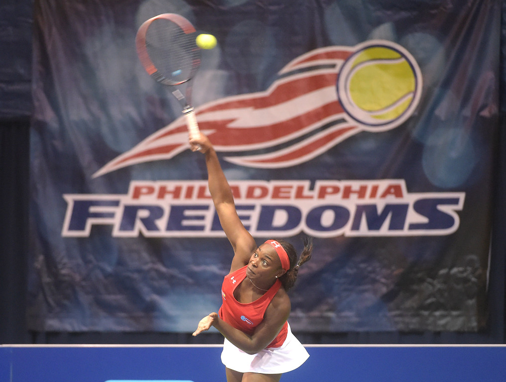 . PETE BANNAN  DIGITAL FIRST MEDIA  Philadelphia Freedoms Sloane Stephens serves at St. Joseph\'s University Hagan Arena against the New York Empire. Monday evening.