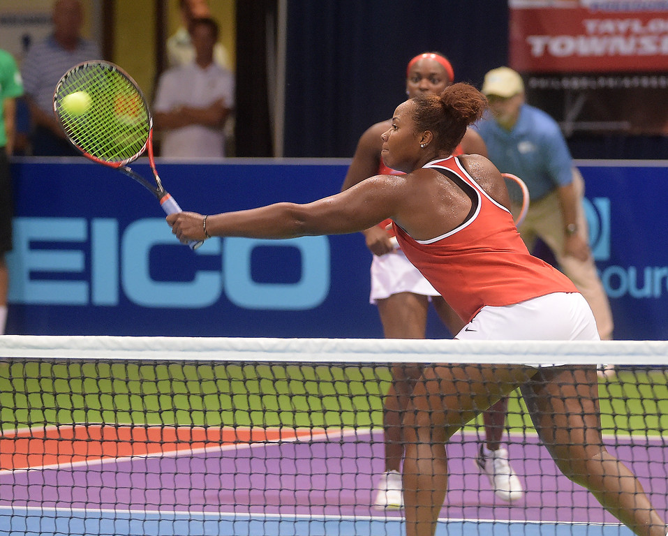 . PETE BANNAN  DIGITAL FIRST MEDIA  Philadelphia Freedom Taylor Townsend returns a shot in her doubles match with Sloane Stephens , the duo won at St. Joseph\'s University Hagan Arena against the New York Empire. Monday evening.