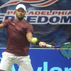 PETE BANNAN  DIGITAL FIRST MEDIA  Philadelphia Freedom Donald Young returns a shot in his  doubles match with Fabrice Martin at St. Joseph's University Hagan Arena against the New York Empire. Monday evening.