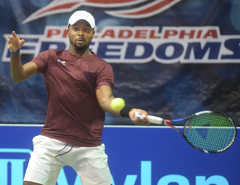 . PETE BANNAN  DIGITAL FIRST MEDIA  Philadelphia Freedom Donald Young returns a shot in his  doubles match with Fabrice Martin at St. Joseph\'s University Hagan Arena against the New York Empire. Monday evening.