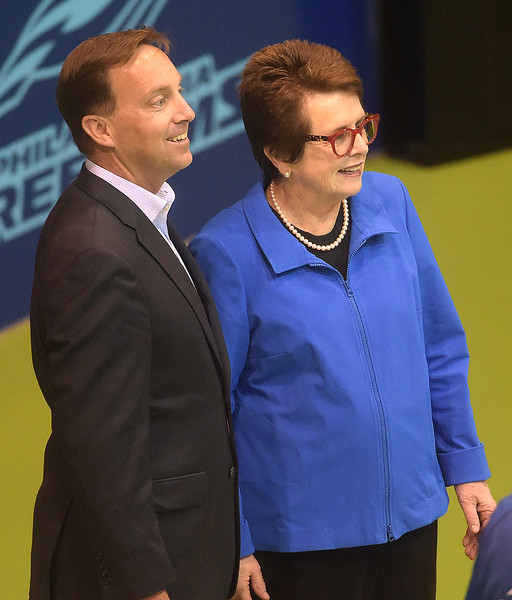 PETE BANNAN  DIGITAL FIRST MEDIA    St. Joseph's University President Mark Reed  and Billie Jean King were on hand as the Freedom's opened their season at  St. Joe's Hagan Arena against the New York Empire. Monday evening.