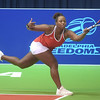 PETE BANNAN  DIGITAL FIRST MEDIA  Philadelphia Freedom Taylor Townsend returns a shot in her doubles match with Sloane Stephens , the duo won at St. Joseph's University Hagan Arena against the New York Empire. Monday evening.