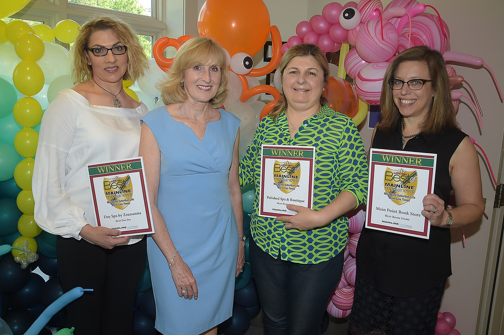 . PETE BANNAN - DIGITAL FIRST MEDIA      The Main Line Readers Choice Party was held at the Wayne Art Center Wednesday.  (Left to right) Zsuzsanna Beyer, Digital First Media account manager Kathy O\'Keefe, Marina Selverian of Polished Spa Boutique and Cathy Fiebach of Main Point Books were among the businesses honored as the Best of the Main Line.