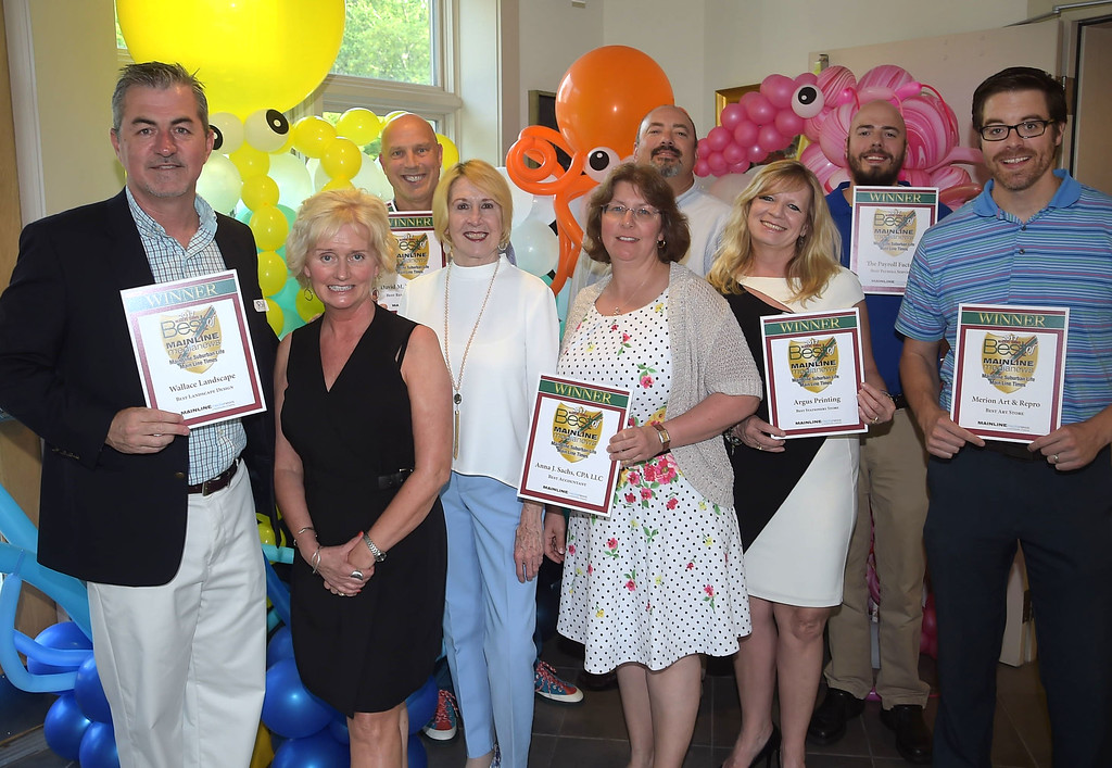 . PETE BANNAN - DIGITAL FIRST MEDIA      The Main Line Readers Choice Party was held at the Wayne Art Center Wednesday.  (Left to right) Ron Dodd of Wallace Landscapes, Joan Goldschmidt of Sugartown Communications, David Dillion DMD. Digital First Media account manager, Edna Woods,Anna Sachs CPA, Allen Noll and Jason Saul of the Payroll Factory,  Mary Beth Heilmann of Argus Printing and Joe Lyons of Merion Art and Repo were among the businesses honored as the Best of the Main Line.