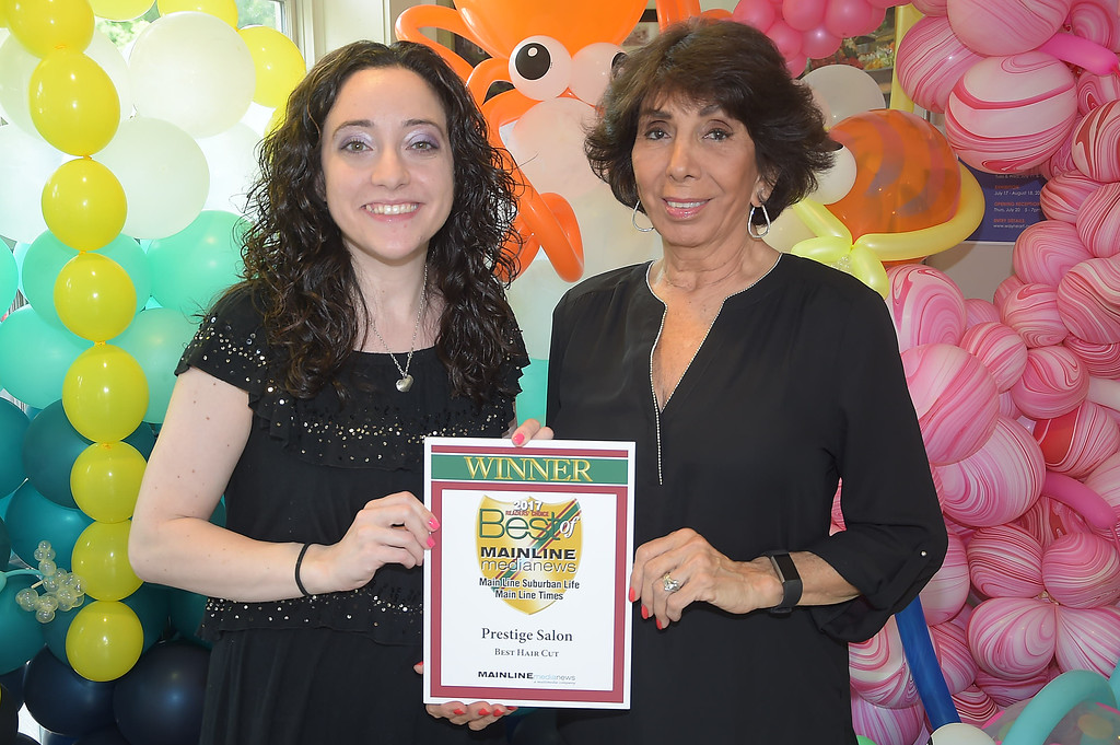 . PETE BANNAN - DIGITAL FIRST MEDIA      The Main Line Readers Choice Party was held at the Wayne Art Center Wednesday.  Paulette Ward  and Sofia DiNardo of Prestige Salon were among the businesses honored as the Best of the Main Line.